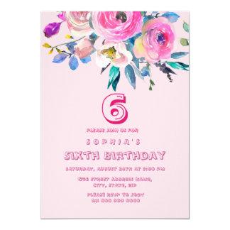 ピンクのモモのフラワー・ガールの子供の子供の誕生日 カード
