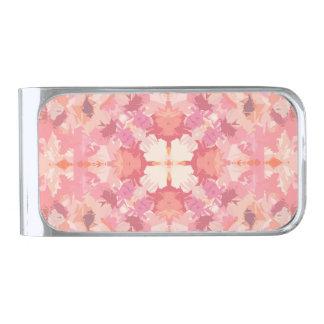 ピンクのモモの水彩画の抽象芸術パターン シルバー マネークリップ