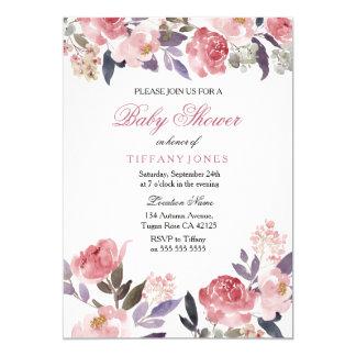 ピンクのモモの花の水彩画のベビーシャワーの招待 12.7 X 17.8 インビテーションカード