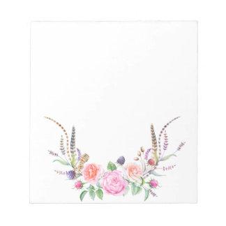 ピンクのモモの青い花の果実の羽 ノートパッド