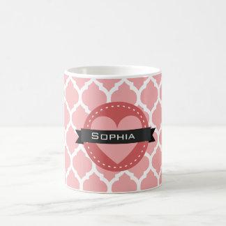 ピンクのモロッコの格子パターン コーヒーマグカップ