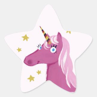 ピンクのユニコーンのステッカー 星シール
