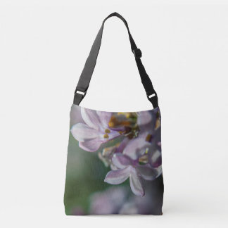 ピンクのライラックの花の自然の写真の十字の遺体袋 クロスボディバッグ
