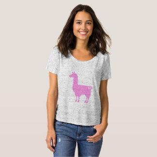 ピンクのラマの女性だらしないTシャツ Tシャツ