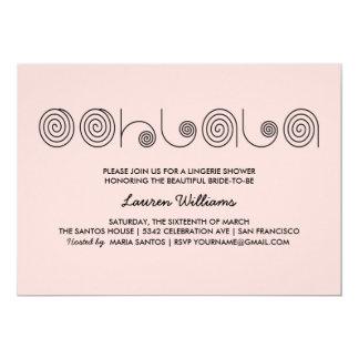 ピンクのランジェリーのシャワーの招待状のOohのLaのLa カード