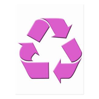 ピンクのリサイクルの記号 ポストカード