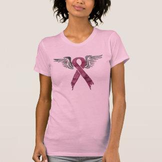ピンクのリボンおよび翼 Tシャツ