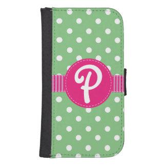 ピンクのリボンが付いている緑及び白い水玉模様 ウォレットケース