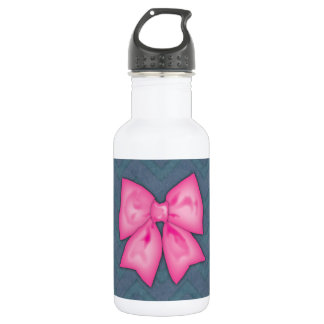 ピンクのリボンのシェブロンのデニムの背景 ウォーターボトル