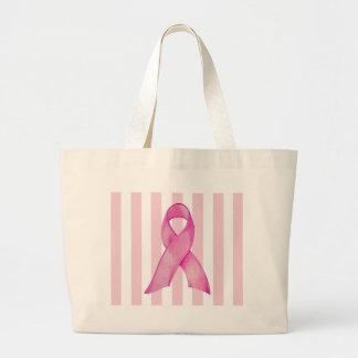 ピンクのリボンのストライブ柄のバッグ ラージトートバッグ