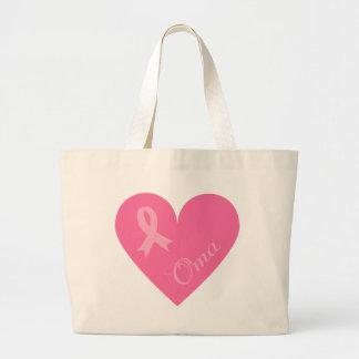 ピンクのリボンのハートOma ラージトートバッグ