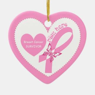 ピンクのリボンのピンクの希望の乳癌の認識度 セラミックオーナメント
