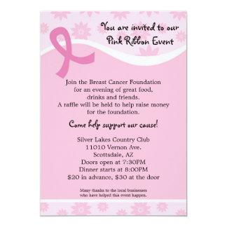 ピンクのリボンの乳癌のイベントの招待状 カード