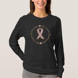 ピンクのリボンの乳癌の生存者20年 Tシャツ
