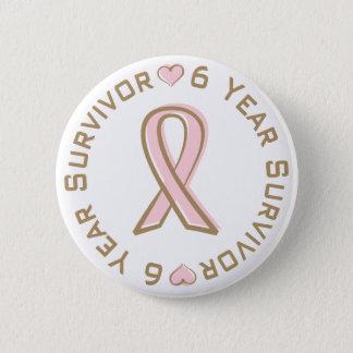 ピンクのリボンの乳癌の生存者6年 缶バッジ