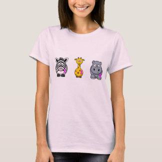 ピンクのリボンの動物のデザイン Tシャツ