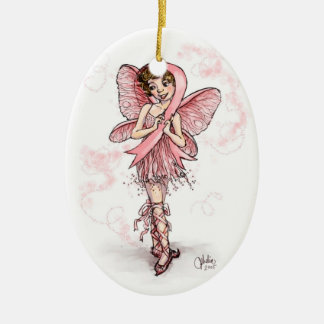 ピンクのリボンの妖精 セラミックオーナメント