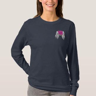 ピンクのリボンの生存者の長い袖のワイシャツ Tシャツ
