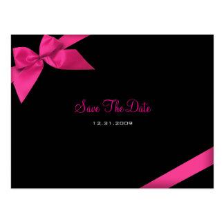 ピンクのリボンの結婚式のセーブ・ザ・デート案内 ポストカード