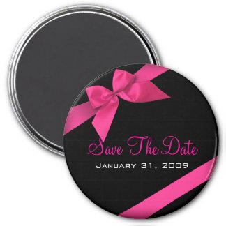 ピンクのリボンの結婚式の保存円形日付 磁石