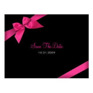 ピンクのリボンの結婚式の保存日付2 はがき