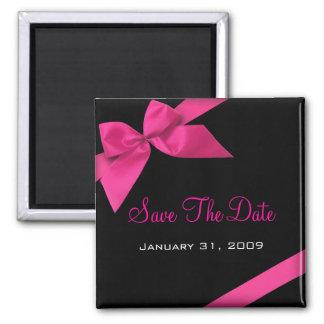 ピンクのリボンの結婚式の保存日付Announcement1 冷蔵庫マグネット