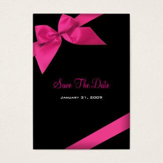 ピンクのリボンの結婚式の保存日付MiniCard 名刺