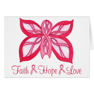 ピンクのリボンの蝶-空白のなNotecard カード