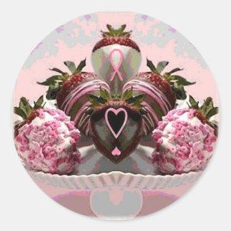 ピンクのリボンチョコレートはいちごを浸しました ラウンドシール