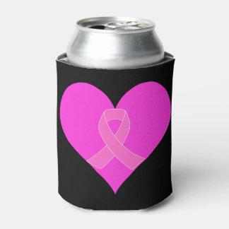 ピンクのリボン及びハートの乳癌の慈善のデザイン 缶クーラー
