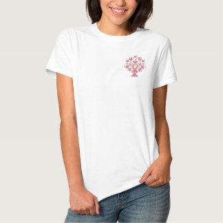 ピンクのリボン木 刺繍入りTシャツ
