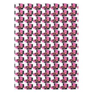 ピンクのレコードプレーヤの千鳥格子のなテーブルクロス テーブルクロス