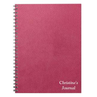 ピンクのレザールック ノートブック