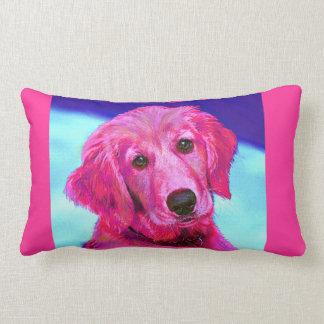 ピンクのレトリーバーの枕 ランバークッション
