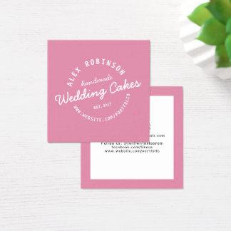 ピンクのレトロのウエディングケーキのパン屋の名刺 スクエア名刺