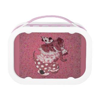 ピンクのレトロのサーカス象 ランチボックス