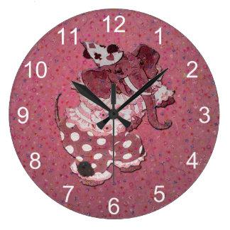 ピンクのレトロのサーカス象 ラージ壁時計