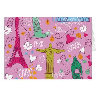 ピンクのレトロ旅行パターン カード