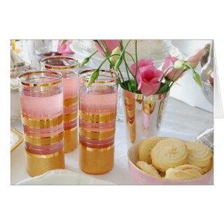 ピンクのレモネードの写真撮影の挨拶状、花柄 カード