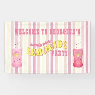 、ピンクのレモネードの誕生日縞で飾ります 横断幕