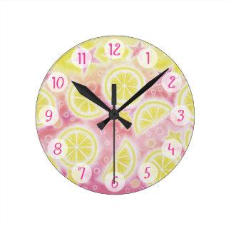 ピンクのレモネードは円形時計媒体に「番号を付けます」 ラウンド壁時計