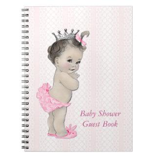 ピンクのレースのプリンセスのベビーシャワーの来客名簿 ノートブック