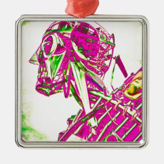 ピンクのロボット メタルオーナメント