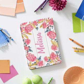 ピンクのロマンチックでガーリーな花フレームのiPadの場合 iPad Proカバー
