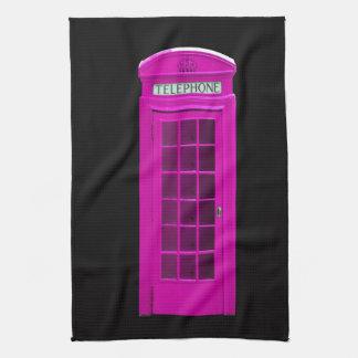 ピンクのロンドンの電話ボックス ハンドタオル