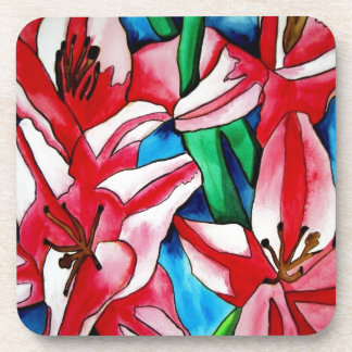 ピンクのワスレグサの水彩画の芸術の絵画 コースター