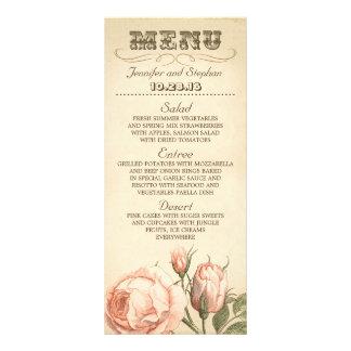ピンクのヴィンテージのバラのエレガントな結婚式メニューカード ラックカードデザイン