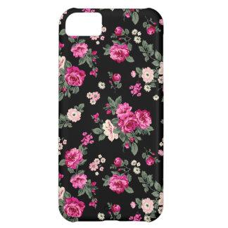 ピンクのヴィンテージのバラの黒い背景 iPhone5Cケース