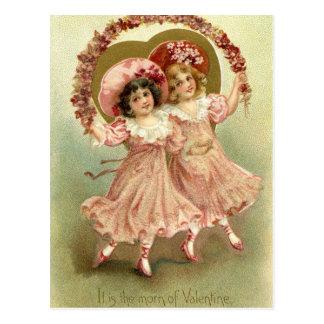 ピンクのヴィンテージのバレンタインデーの友情 ポストカード