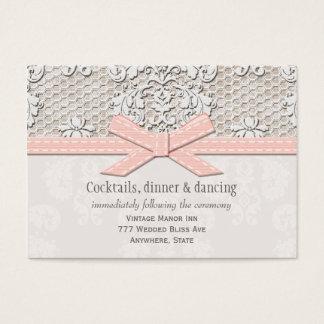 ピンクのヴィンテージのレースの結婚披露宴のエンクロージャカード 名刺